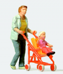 Preiser 28079 - HO / OO Scales Woman with Buggy